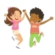 Boy and Girl Happily Jump and Dance - GraphicRiver Item for Sale