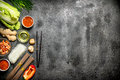 Asian food. Fresh ingredients for cooking Chinese food on a rustic background . - PhotoDune Item for Sale