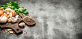 Fresh vegetables . Fresh vegetables with spices and herbs. On rustic background. - PhotoDune Item for Sale