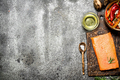 Raw fish. Salmon fillet with herbs and spices. On rustic background. - PhotoDune Item for Sale