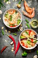 Asian food. Chinese noodles with vegetables and shrimp. - PhotoDune Item for Sale