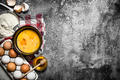 Baking background. A variety of ingredients for baking on rustic background. - PhotoDune Item for Sale