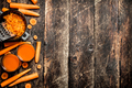 Fresh carrot juice. On the old wooden table. - PhotoDune Item for Sale