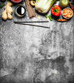 Asian food. A variety of ingredients for cooking Asian food on rustic background. - PhotoDune Item for Sale