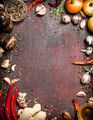 Fresh spices. Frame from a variety of aromatic spices. On rustic background. - PhotoDune Item for Sale