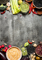 Organic Food. A variety of legumes with vegetables. On rustic background. - PhotoDune Item for Sale