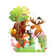 Forest Animals Friends in the Wild on Big Tree - GraphicRiver Item for Sale