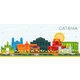 Catania Italy City Skyline with Color Buildings and Blue Sky. - GraphicRiver Item for Sale