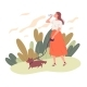 Young Woman Walking Her Dog and Drinking Water - GraphicRiver Item for Sale