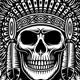 American Indian Chief Skull With Crossed Tomahawks On Black - GraphicRiver Item for Sale