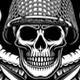 Military Skull Emblem Vector Graphic On Black - GraphicRiver Item for Sale