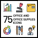 75 Office and Office Supplies Icons | Vivid Series - GraphicRiver Item for Sale