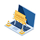 Isometric Laptop with Under Construction Barrier and Traffic Cones - GraphicRiver Item for Sale