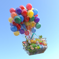 Shopping basket full of food with balloons flying in the sky. - PhotoDune Item for Sale