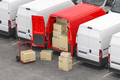 Red delivery van with open doors and hand truck - PhotoDune Item for Sale