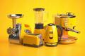Yellow kitchen appliances on yellow background. Set of home kitchen technics. - PhotoDune Item for Sale