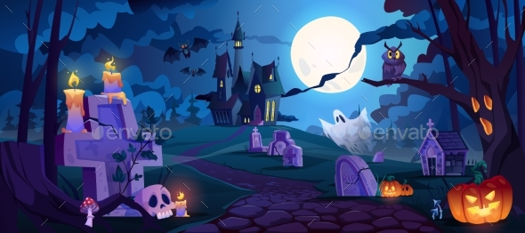 Halloween Landscape with Graveyard and Castle