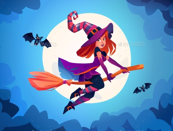 Halloween Witch on Broomstick with Bats and Moon