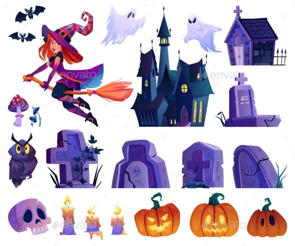 Halloween Elements Castle and Graves Pumpkins