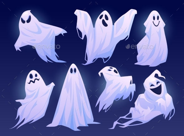 Halloween Ghosts Good and Evil Apparitions Vector