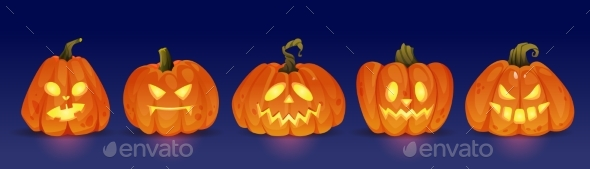 Glowing Halloween Pumpkin Characters Evil and Good