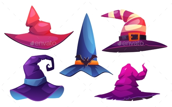 Halloween Witch Hats Headwear with Belts and Bats