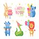 Happy Birthday Clip Art, Set. Cute Animals Celebrating Together. Rabbit, Koala, Rhino, Snake, Lion. - GraphicRiver Item for Sale