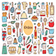 Kitchen Elements Cute Doodle Hand Drawn Vector Clipart, Set of Elements, Icons, Stickers. - GraphicRiver Item for Sale
