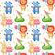 Happy Birthday Seamless Pattern. Cute Animals Celebrating Together. - GraphicRiver Item for Sale
