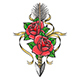 Rose Flowers Pierced by Indian Arrow Colorful Tattoo - GraphicRiver Item for Sale
