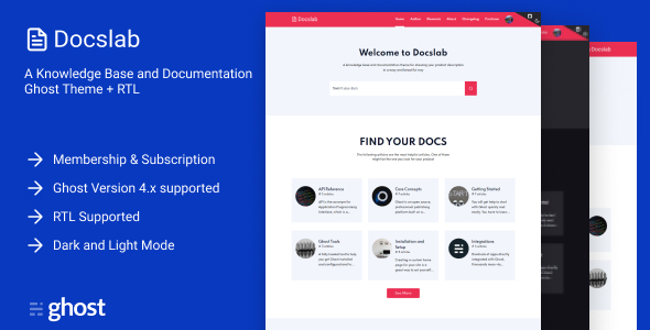 Docslab - a Knowledge Base and Documentation Ghost Theme + RTL