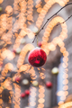 Streets fully decorated for Christmas with red and gold balls. Christmas tree in the city. - PhotoDune Item for Sale