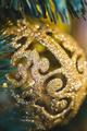 Beautiful shiny texture of glare gold Christmas balls close-up - PhotoDune Item for Sale