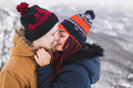 Tender portrait of young kissing couple. Winter look - PhotoDune Item for Sale