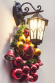 Street lantern decorated for Christmas with beautiful red and golden glass balls. Beaming in night - PhotoDune Item for Sale