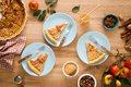 Thanksgiving autumn apple pie with fresh fruits and walnuts on wooden table, top view - PhotoDune Item for Sale