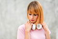 Close up woman of a serious attractive woman wearing headphones - PhotoDune Item for Sale