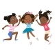 African American Girls Jumping And Dancing Fun - GraphicRiver Item for Sale