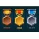 Level Up Badge Reward Icon Gold Silver Bronze - GraphicRiver Item for Sale