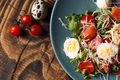 Blue salad plate with quail eggs and cheese - PhotoDune Item for Sale
