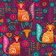 Folk Plants Fox Deer Flowers Seamless Pattern - GraphicRiver Item for Sale
