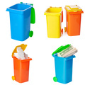 Recycling concept. Colorful bins for different garbage on white background - PhotoDune Item for Sale
