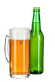 Beer bottle and beer glass on white background creative photo - PhotoDune Item for Sale