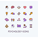 Psychology Sign Color Thin Line Icon Set. Vector - GraphicRiver Item for Sale