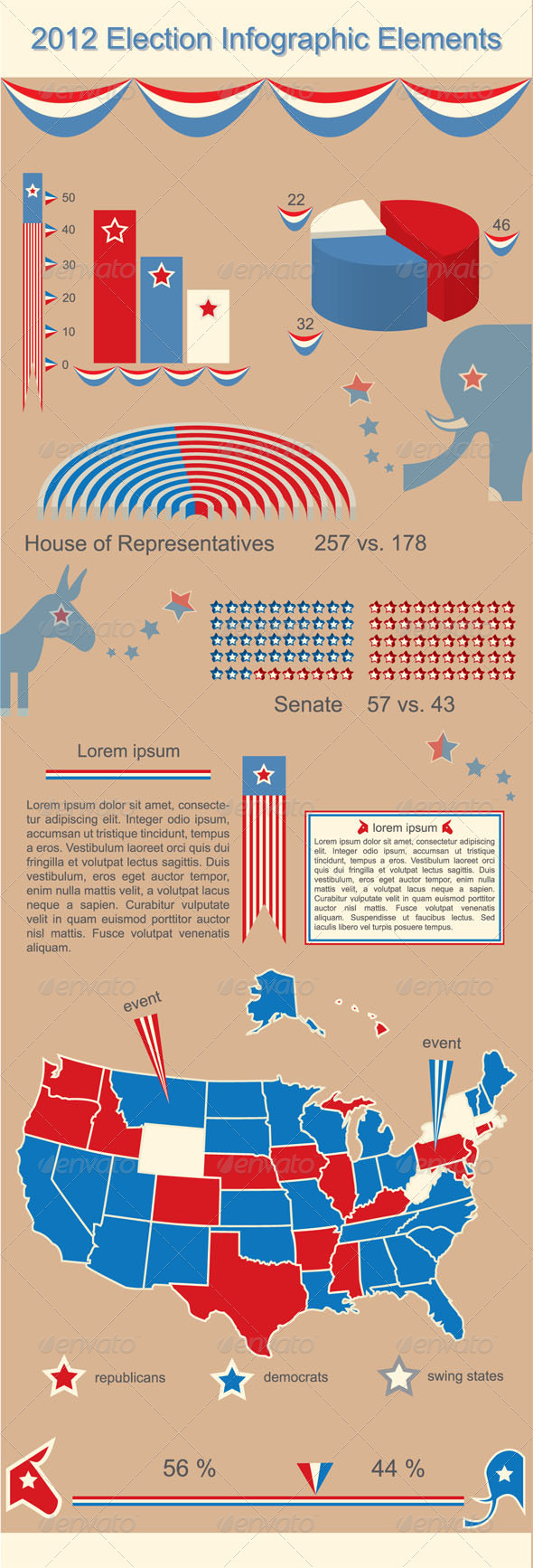 2012 Presidential Election Infographic Elements