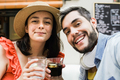 Young couple having fun doing selfie on happy hour at cocktail bar - After work drinks concept - PhotoDune Item for Sale