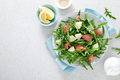 Salted salmon and arugula salad with fresh pineapple, top view - PhotoDune Item for Sale