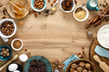 Culinary background with ingredients for baking Thanksgiving or Christmas sweet bake on wooden table - PhotoDune Item for Sale
