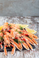Sea crayfishes on stone plate served with dill and lemon, vertical, copy space - PhotoDune Item for Sale