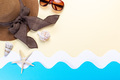 Summer holidays background with hat, sunglasses and seashells - PhotoDune Item for Sale